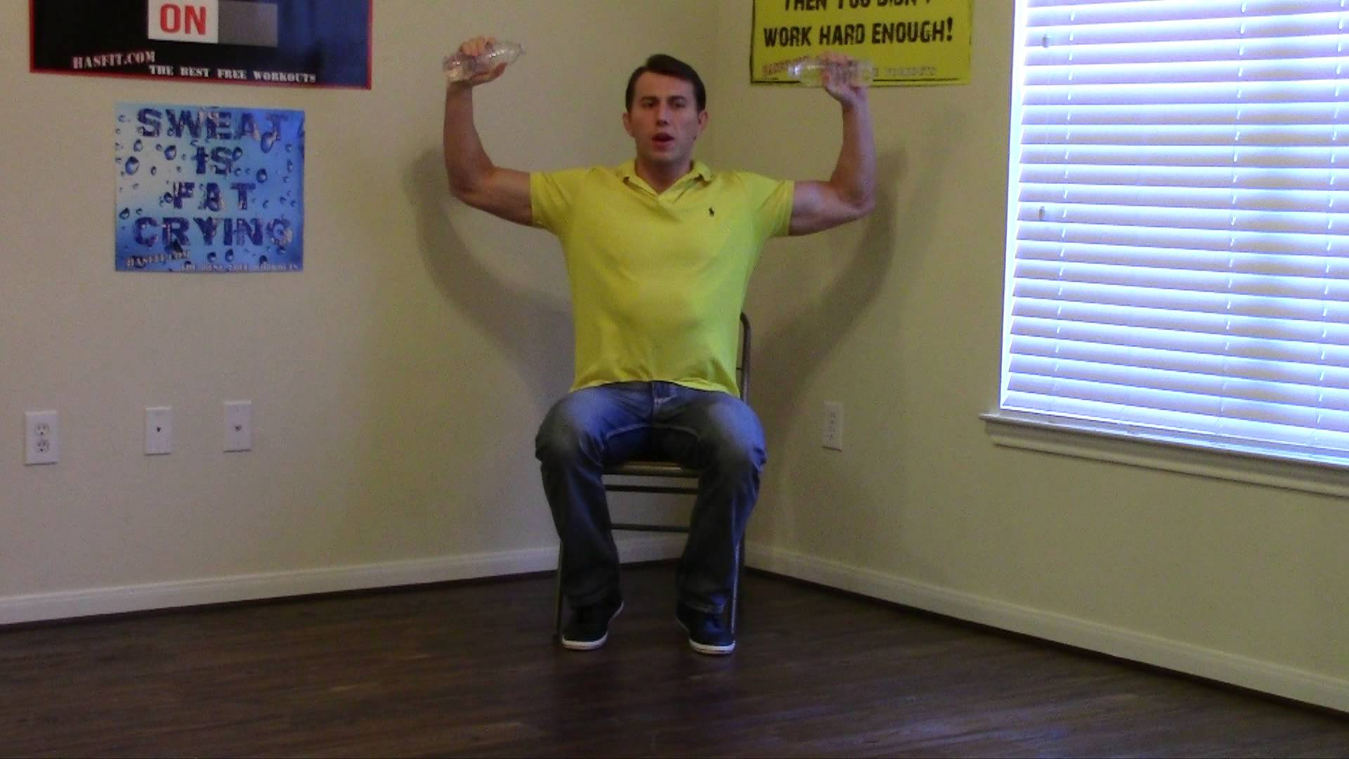 15 Min Work Workout - How to Exercise at Work - HASfit Office Exercises - Desk Exercises at Work 4