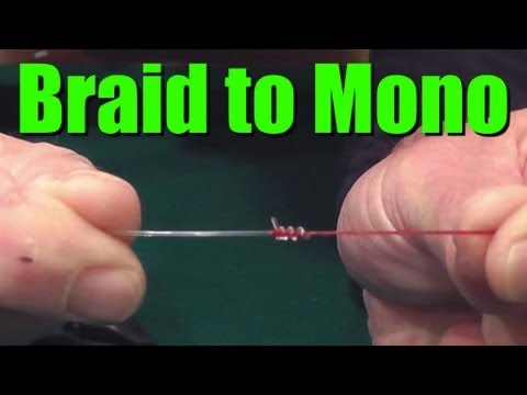 HOW TO Tie BRAIDED Fishing Line to MONOFILAMENT or Fluorocarbon Leader- Easy and Strong Fishing Knot 5