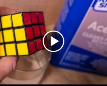Putting a Rubik's Cube & Lego bricks in Acetone. What Happens? 1